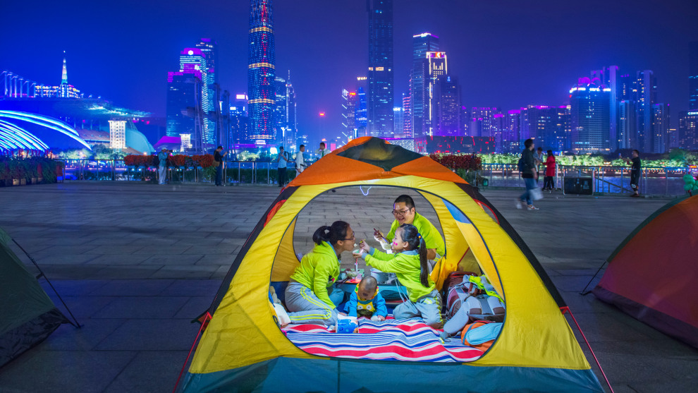 Copyright: © Zhou Dainan, China, Shortlist, Open, Street Photography (Open competition), 2019 Sony World Photography Awards. On March 17, 2018, Guangzhou, Guangdong Province, China held a city camping event.