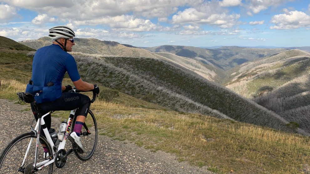Well known South Australian adventure rider Davin Harding stops to take in the stunning view after riding from Bright towards 