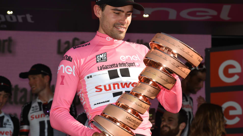 A jubilant Tom Dumoulin - victorious after beating the pre-race favourites to win the 2017 Giro d'Italia. Image: Sirotti.