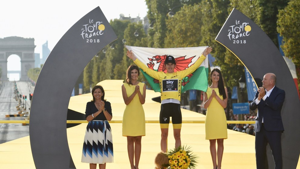 The first Welsh winner of the Tour de France, Geraint Thomas. Image:Sirotti