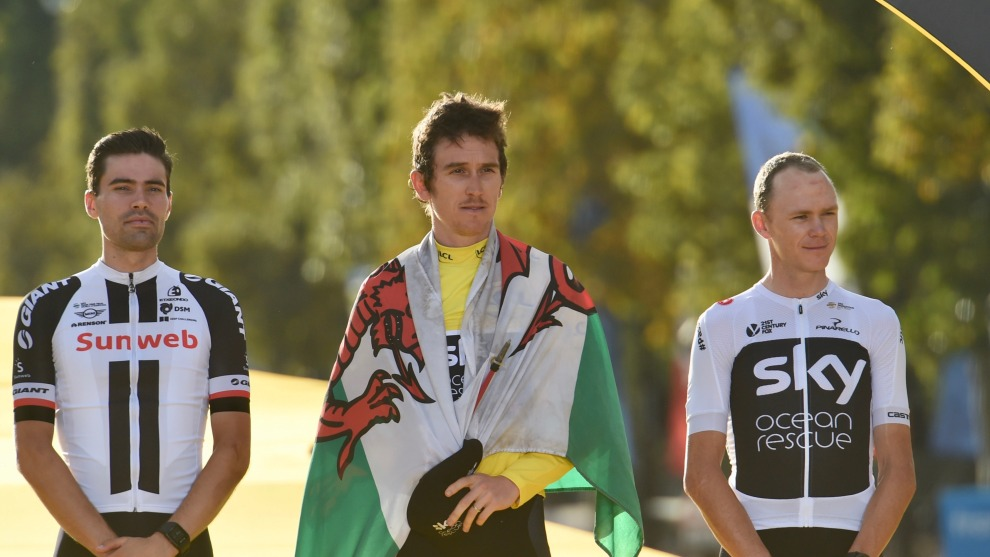 Tom Dumoulin, Geraint Thomas and Chris Froome on the overall podium of the 2018 Tour de France. Image: Sirotti
