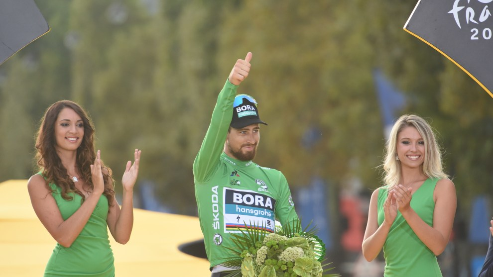 Three time world champion Peter Sagan won the green jersey for a record equalling 6th time. Image: Sirotti.
