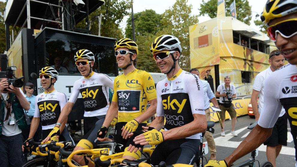 Team Sky celebrate moments after 'G' crossed the line to win the 2018 Tour de France. Image: Sirotti