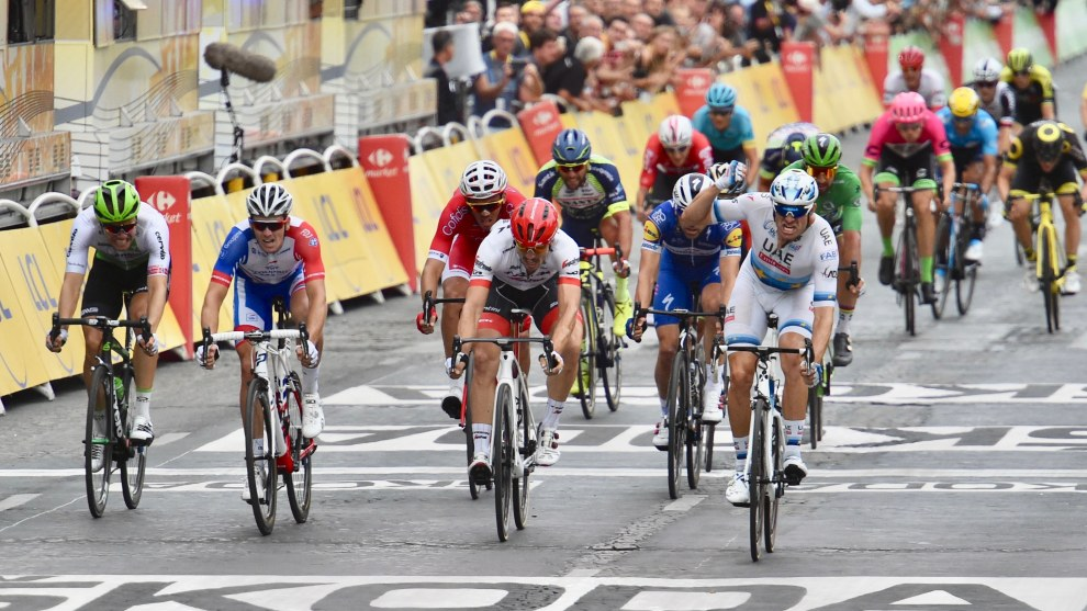 Alexander Kristoff claimed the final sprint stage of the 2018 Tour de France. Image:Sirotti.