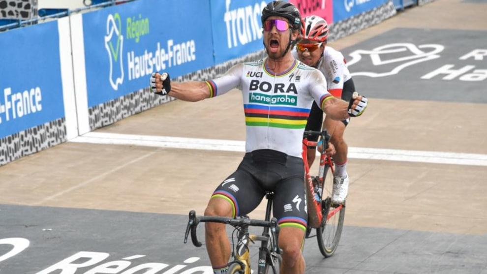 Peter Sagan attacked from more than 50km to go and went on to win the 2018 Paris-Roubaix. Image: ASO / B.Bade.