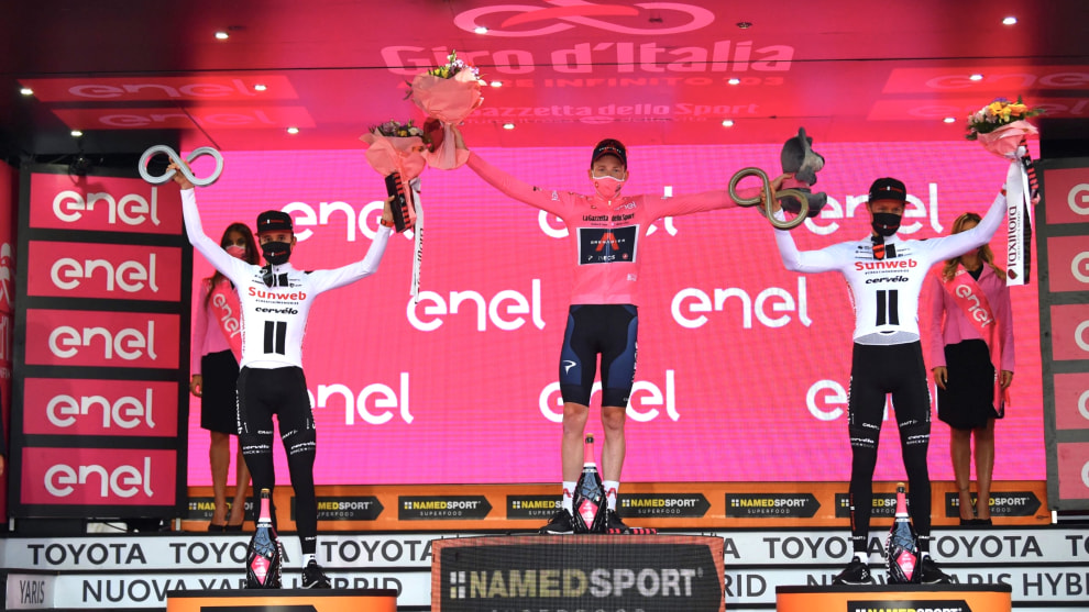 Team Sunweb's Wilco Kelderman and Jai Hindley on the final 2020 Giro d'Italia podium with overall winner Tao Geoghegan Hart of Ineos. Image: Team Sunweb