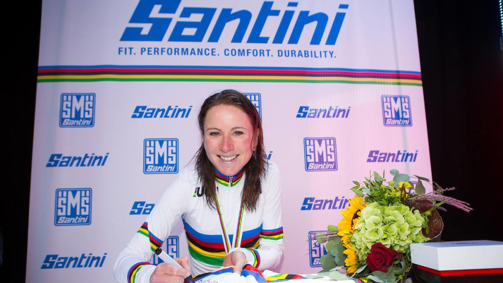 A victorious van Vleuten sits to take in her World Championship win in Norway. Image: UCI