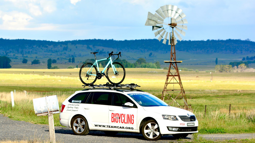 The Bianchi Impulso AllRoad in all its glory atop the Bicycling Australia car en-route to the snow. Image: Nat Bromhead.