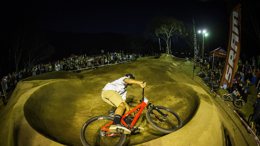 Dave McMillan riding high on the Pump Track, photo by Tim Bardsley-Smith