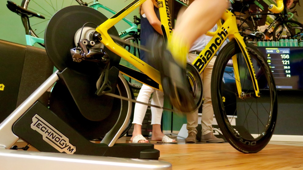 TechnoGym MYCYCLING as demonstrated by rider Pierre Grandjean at Atelier de Velo in Sydney. Image: Nat Bromhead