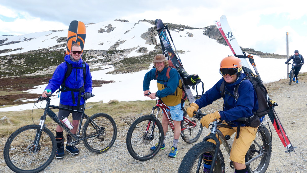 Local skiers and a snowboarder (with a broken arm) were surprised to see the Bianchi up in the high country. Image: Nat Bromhead.