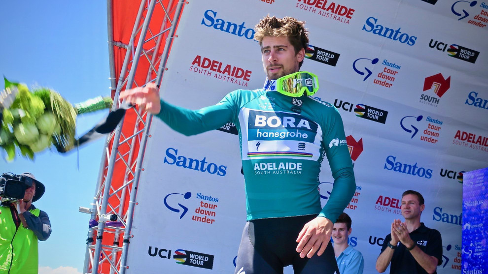 Former world champion and 100% ambassador Peter Sagan after winning Stage 4 of the 2018 TDU in scorching heat. Image Nat Bromhead.