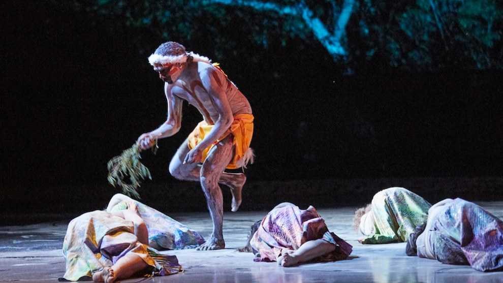 Ngalkanbuy Munungurr with dancers of WAB and NT Dance Company in Gary Lang's 'Milnjiya, Milky Way - River of Stars'. Photo: Sergey Pevnev.
