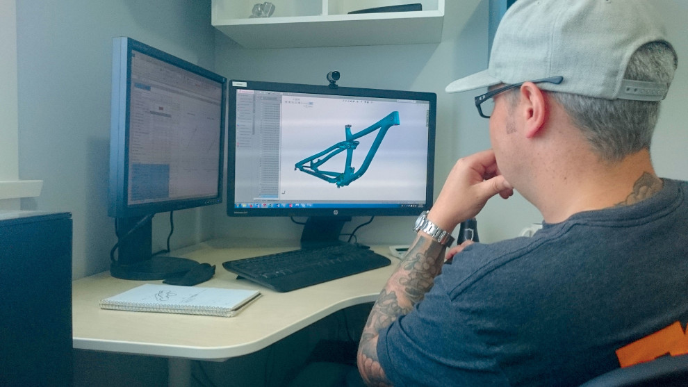 Eyeing off the Optic in Solidworks - a key design program for engineers like Owen.