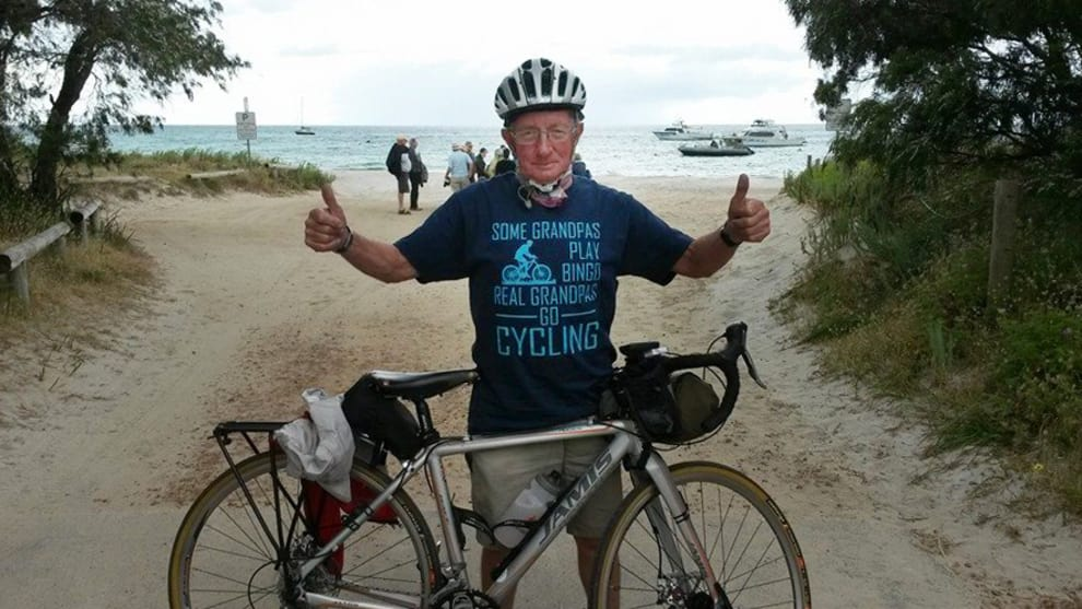 His T-Shirt says it all - Paul just keeps on cycling. Image: Supplied.