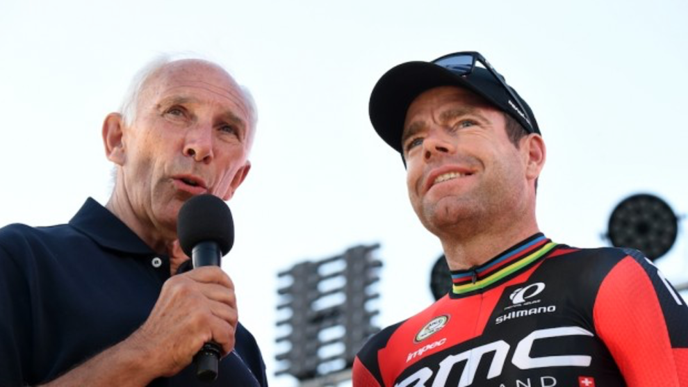 Phil Liggett with Aussie Tour de France winner Cadel Evans.