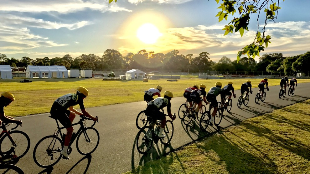 Riders competing in the Norwood Cycling Club criterium series at Victoria Park in Adelaide. They raced in 36.6 degrees, just .4 of a degree off the club cancelation policy temperature of 37. Image: Nat Bromhead.