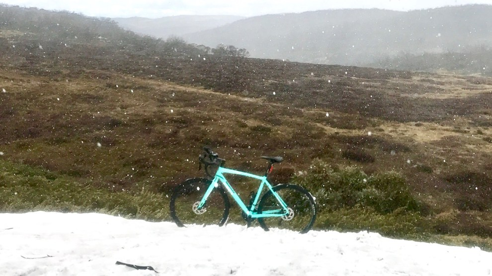 Snow falls during our weekend test of the Bianchi Impulso AllRoad. Image: Nat Bromhead.