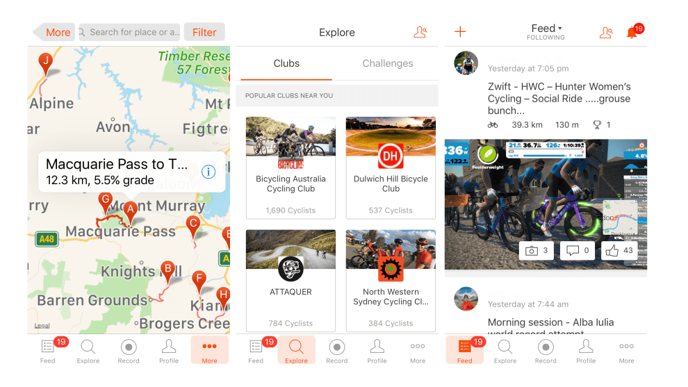 Three of the screens of the Strava mobile app, search, explore and latest activity feed.