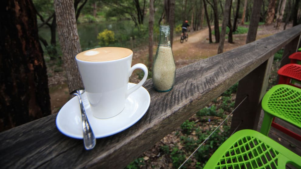 Coffee overlooking the trails at the Hairy Marron