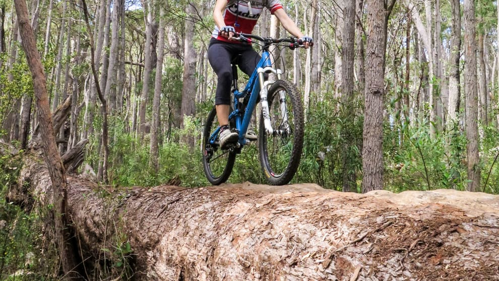 A classic log ride on the creek trails at Margaret River.