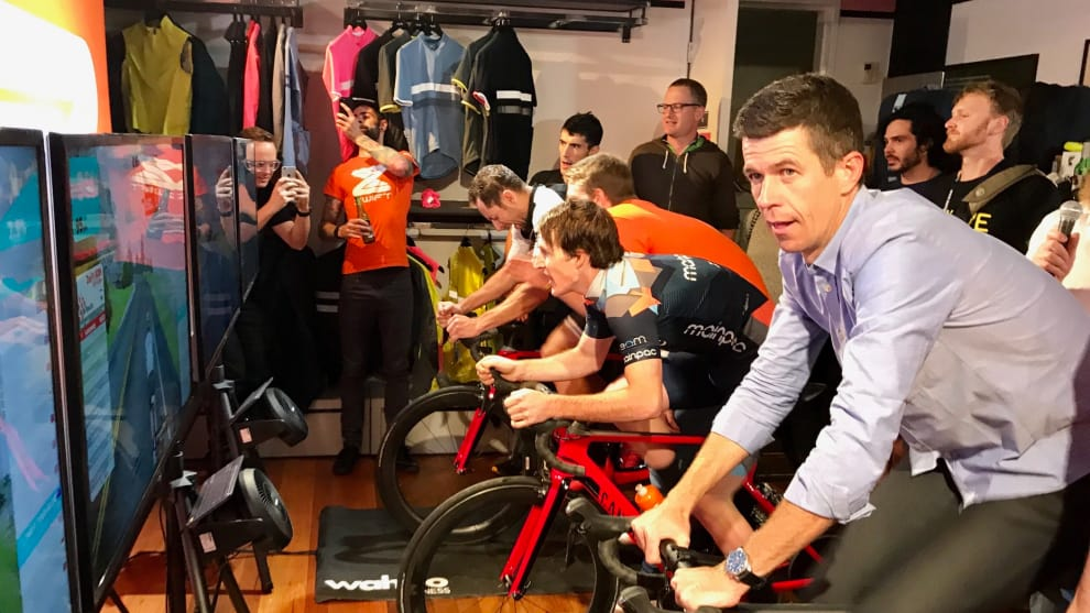 Cycling commentator Matt Keenan at the Zwift event in Sydney. Image: Nat Bromhead.