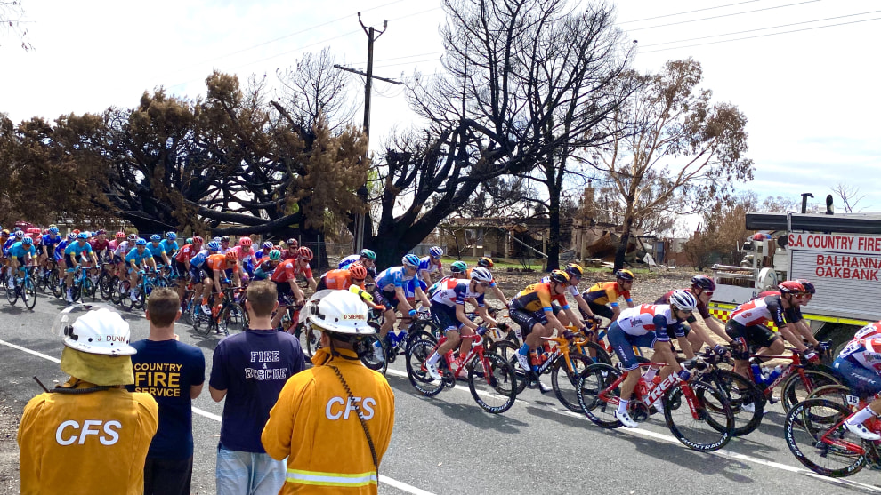 A Country Fire Service crew looks on as the pro peloton pass areas badly affected by recent bushfires. Images: Nat Bromhead