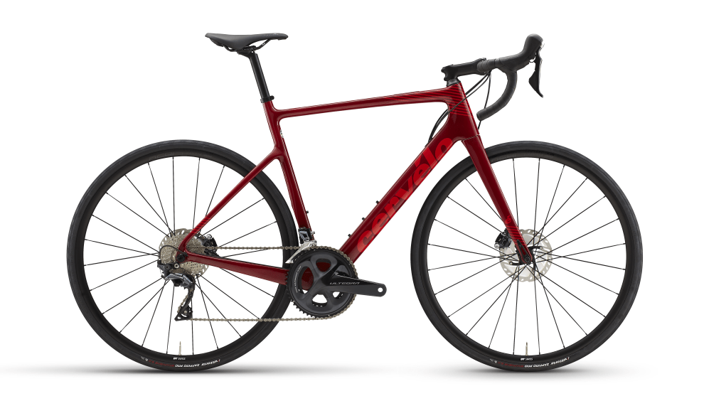 The base-level Caledonia with Ultegra mechanical in maroon red.