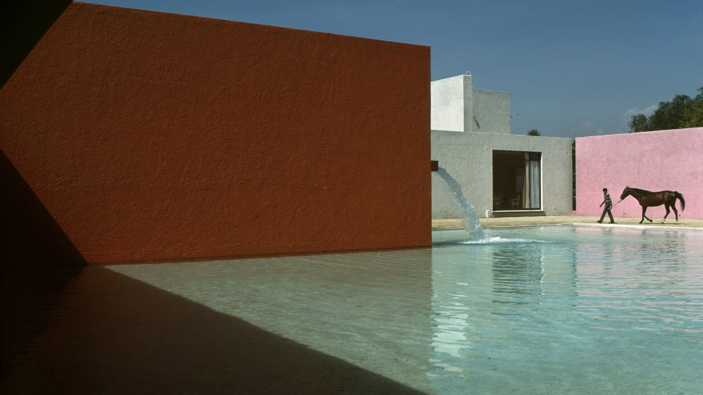 "René Burri, Stable, horse, pool and house planned by architect Luis Barragán. Cuadra San Cristóbal, Mexico. 1976. ""René Burri's personal tribute to the spirit of Luis Barragán.""