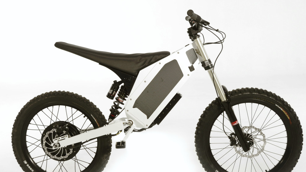 The 5,200 watt Stealth Hurricane weighs 38kg and can do 80kph. These shouldn't be ridden on any publicly accessible MTB trails - it's basically an electric motorbike.