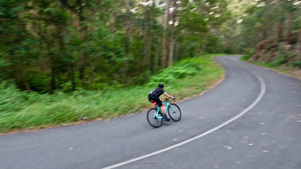 A local rider enjoys the Gyndier Drive descent near Noosa, one of the more popular rides of the region. Image: Nat Bromhead