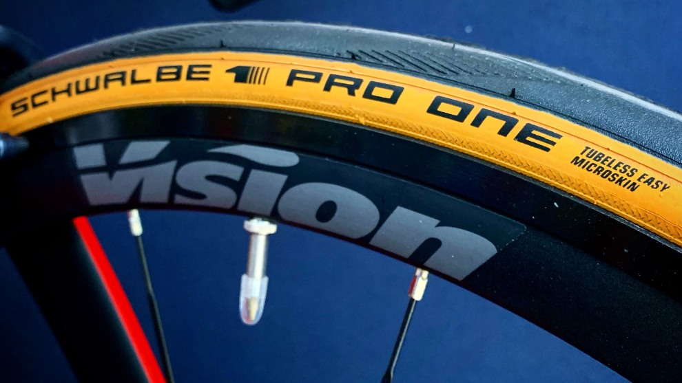 Schwalbe have released a limited number of special edition skinwall Pro One tubeless tyres onto the Australian market. Image: Nat Bromhead.