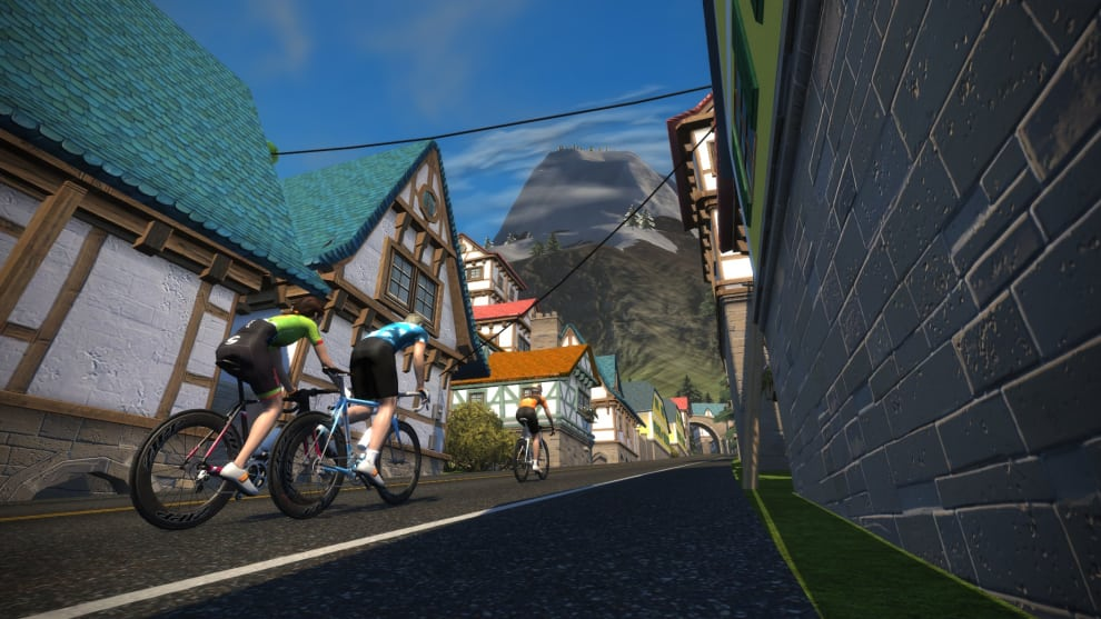 Training with a view: A street scene from Zwift's Watopia.