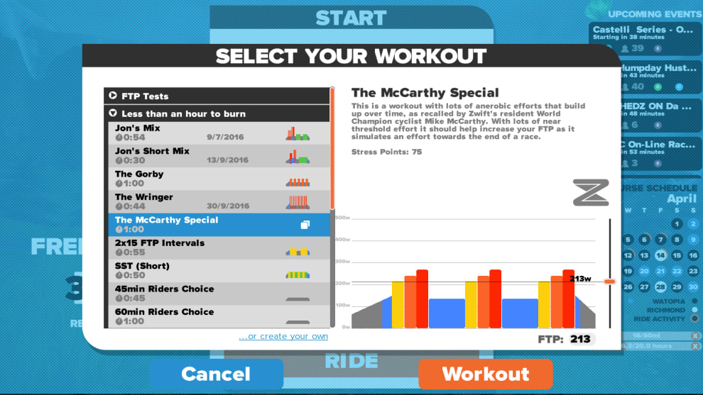 One of the many workouts available on virtual training platform Zwift.