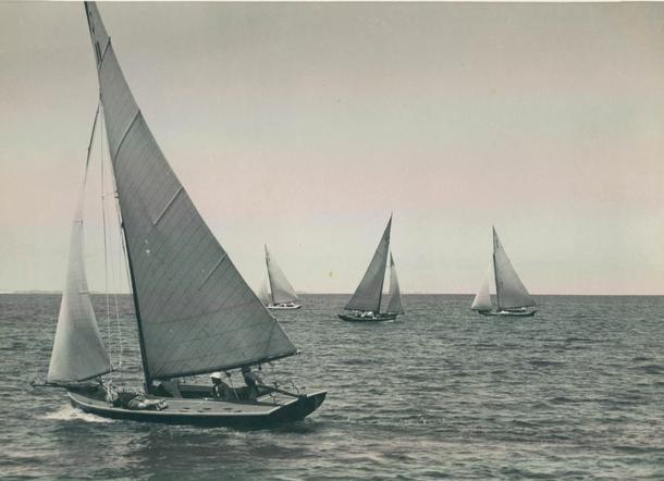 Tassie III waiting for the start of the Forster cup, Brisbane circa 1950.