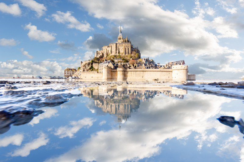 """Mont Saint-Michel puddle mirrored"" by Loïc Lagarde"