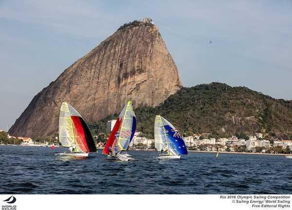 49ers under the Sugarloaf at Rio 2016. Photo Sailing Energy/World Sailing.