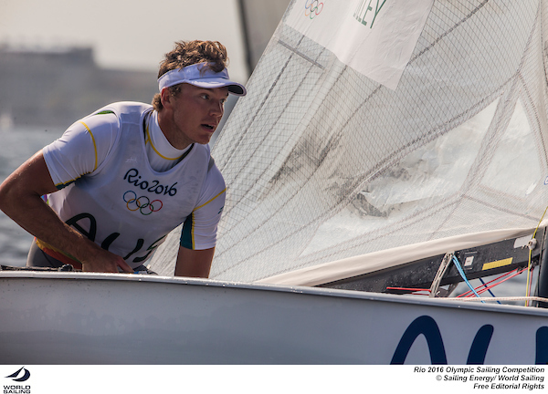 Jake Lilley in the Finn at Rio 2016. Photo Sailing Energy/World Sailing.