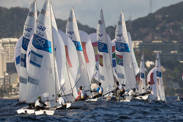 The 470 fleet gets off the line at Rio 2016. Photo Sailing Energy/World Sailing.