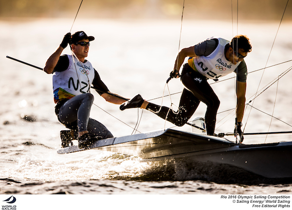 Peter Burling and Blair Tuke in the 49er at Rio. Photo Sailing Energy/World Sailing.