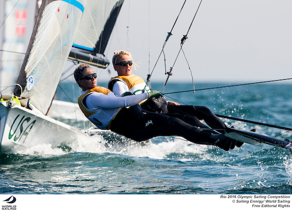 Denmark in the 49erFX. Photo Sailing Energy/World Sailing.