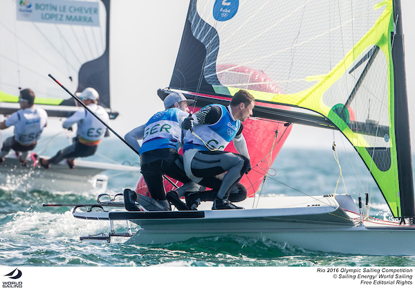 The German 49er team at Rio 2016. Photo Sailing Energy/World Sailing.