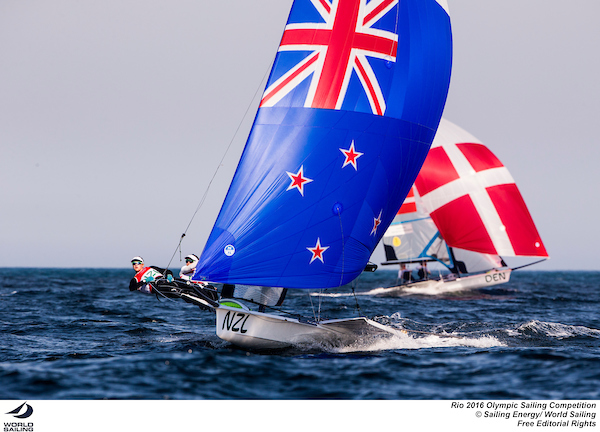 Alex Moloney and Molly Meech (NZL) in the 49erFX. Photo Sailing Energy/World Sailing.
