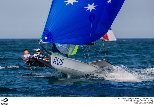 Outteridge and Jensen (AUS). Photo Sailing Energy/World Sailing.