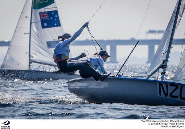 Jo Aleh and Polly Powrie (NZL). Photo Sailing Energy/World Sailing.