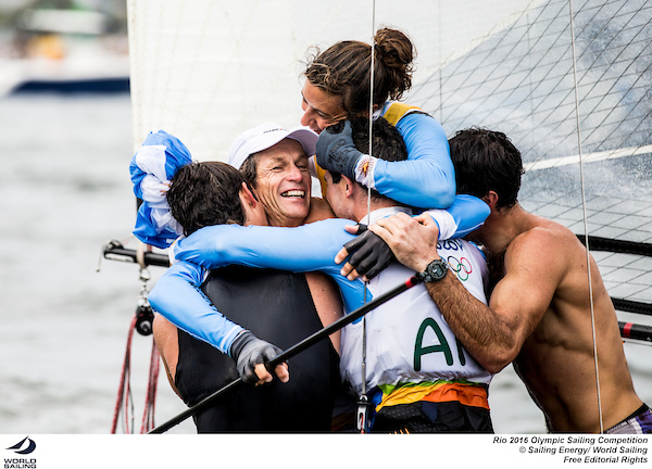 Sante Lange is mobbed by his family, including his sons who are sailing in the 49er class at this Olympics. Photo Sailing Energy/World Sailing.