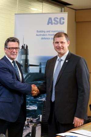 ASC Interim CEO Stuart Whiley and BMT Business Development Director Rob Steel. Credit ASC Shipbuilding
