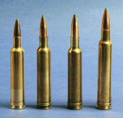 Left to right, .257, .270, .7mm and .300 Weatherby Magnums