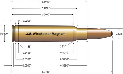 .338 Win. Mag. cartridge drawing