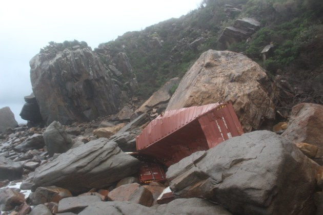 A container washed on to the beach near Port Stephens. Photo RMS Facebook.